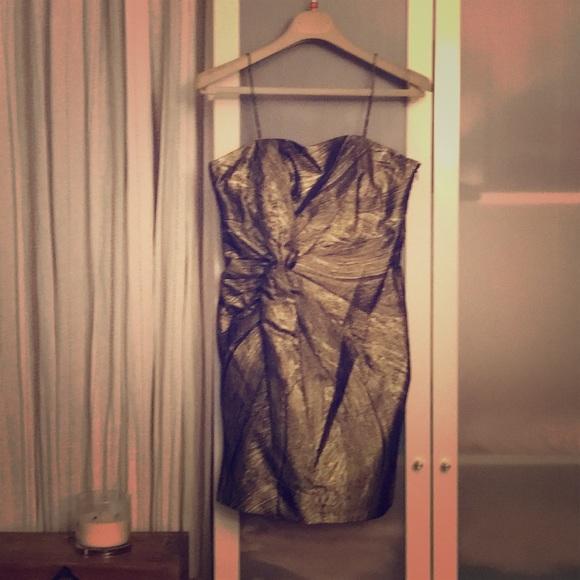 ff2a18bd5224 Haute Hippie Dresses   Strapless Goldblack Dress   Poshmark
